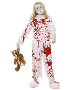 Déguisement de fille zombie en pyjama pour fille