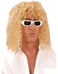 Perruque blonde frisée homme