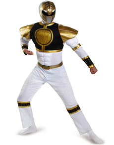 Costume Power Rangers Mighty Morphin blanc musclé adulte