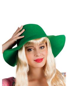 Grand chapeau vert femme